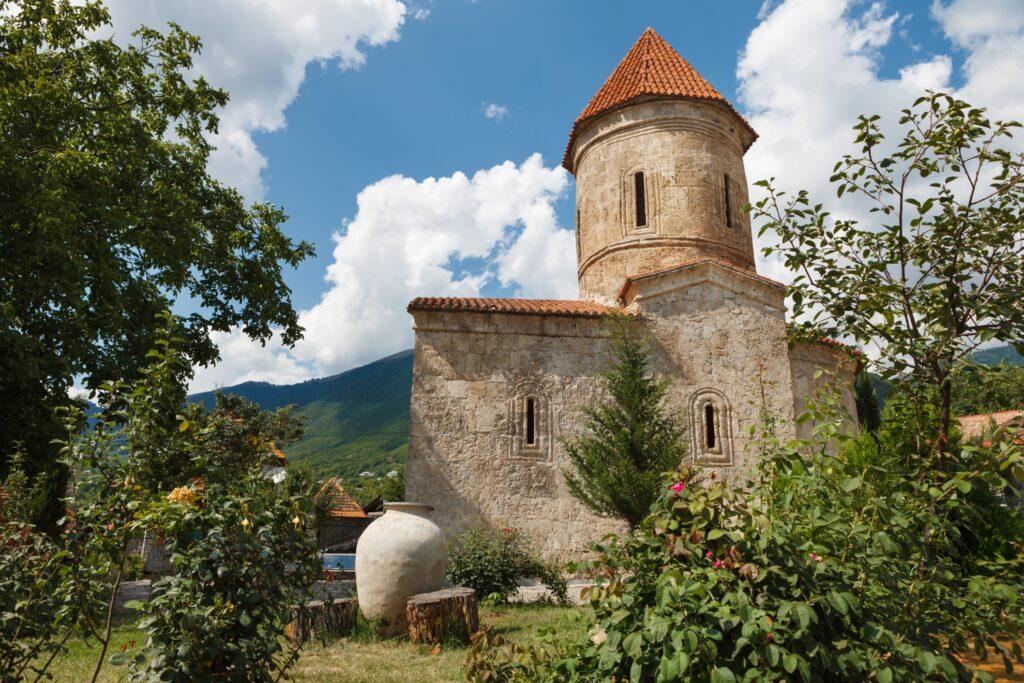 An old Albanian church temple in Sheki.