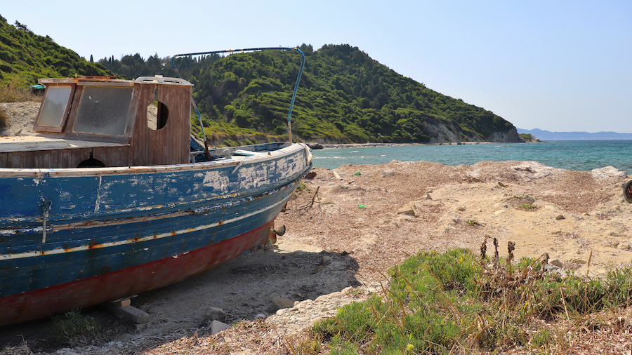 An old boat on the shores of Mathraki Island.