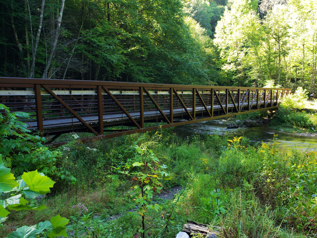 An old train trestle on the Virginia Creeper Trail.