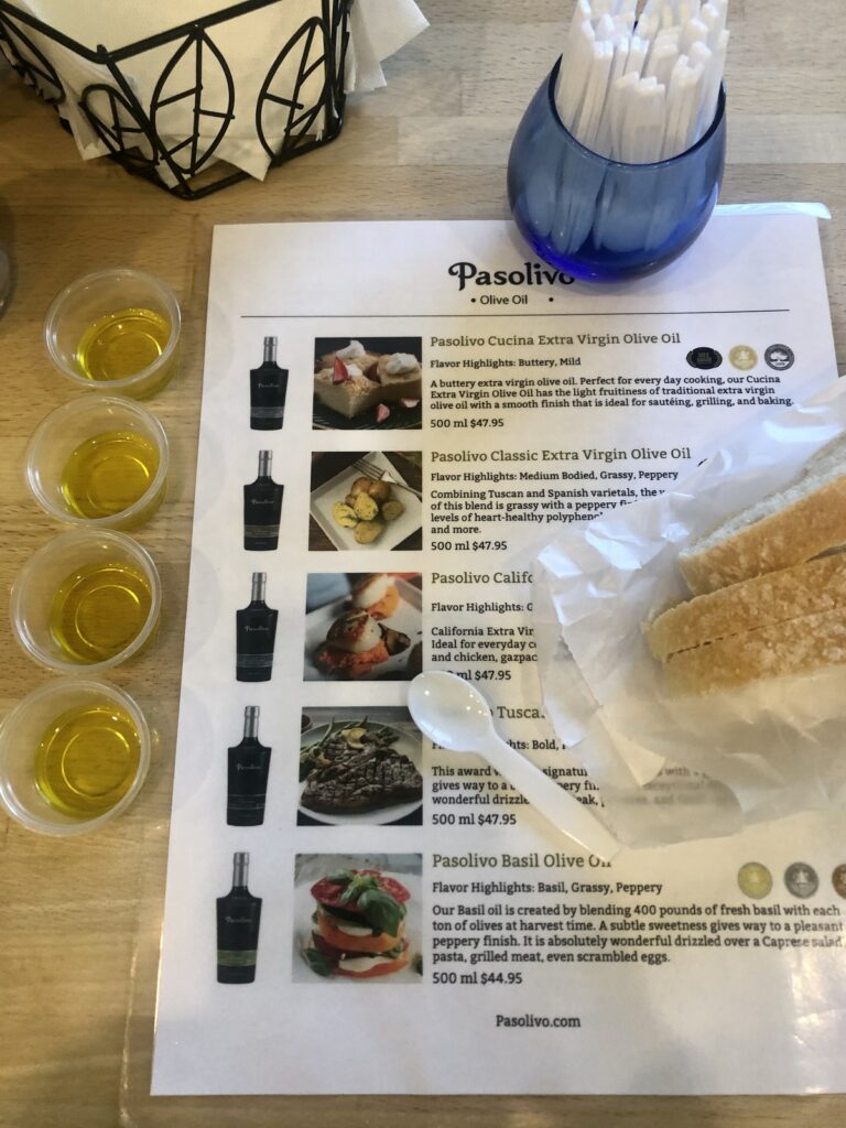 An olive oil tasting at Pasolivo.