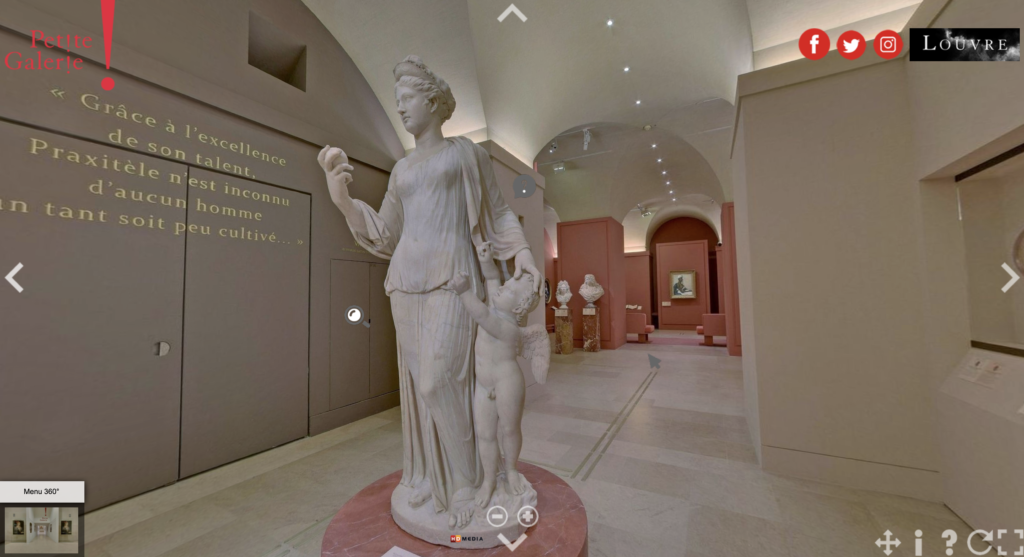 An online tour of the Louvre Museum in Paris.