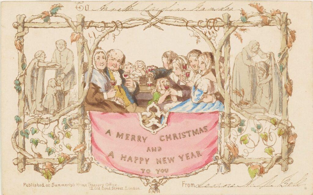 An original Christmas card on display at the Postal Museum.