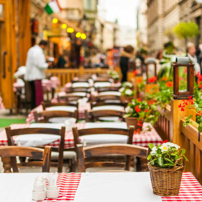 An outdoor cafe in Europe.