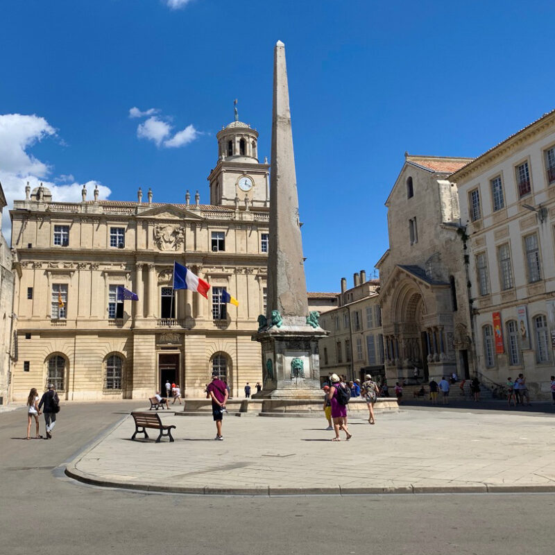 An outdoor plaza in Provence, France.