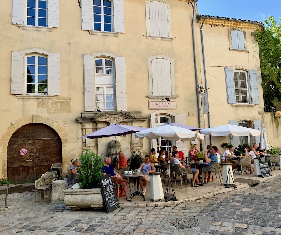 An outdoor restaurant in France.