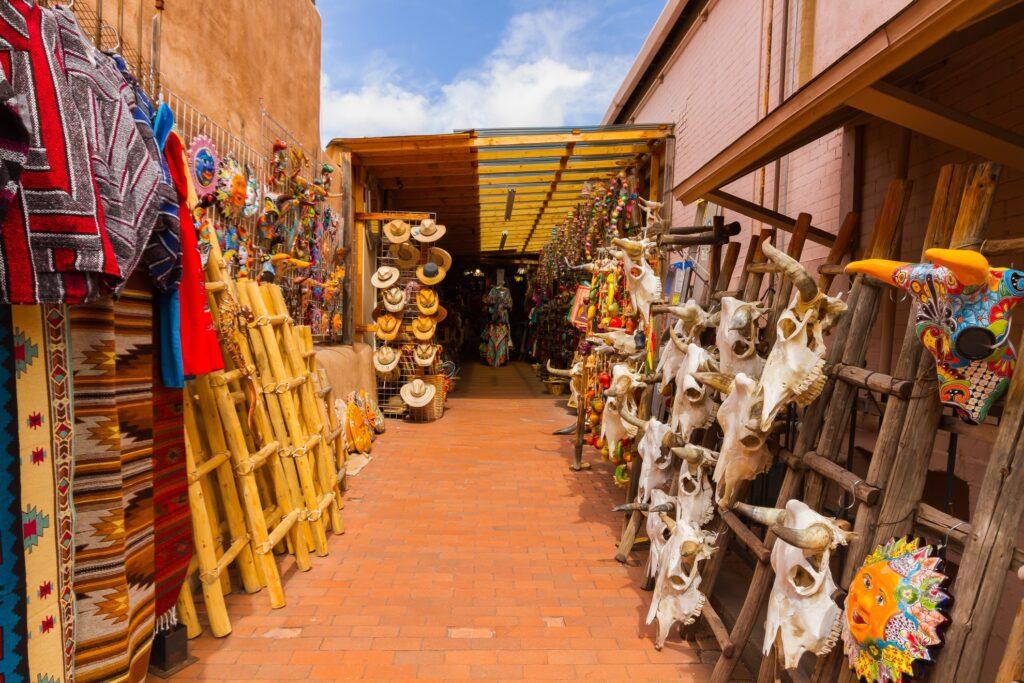 An outdoor shop in Santa Fe, New Mexico.