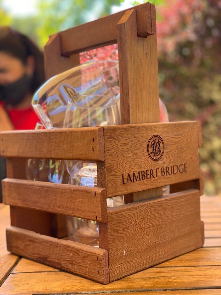 An outdoor wine tasting at Lambert Bridge Winery.