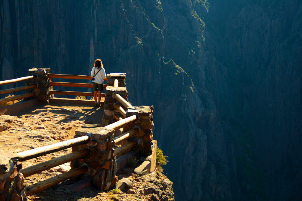 An overlook at the Black Canyon in Gunnison National Park.