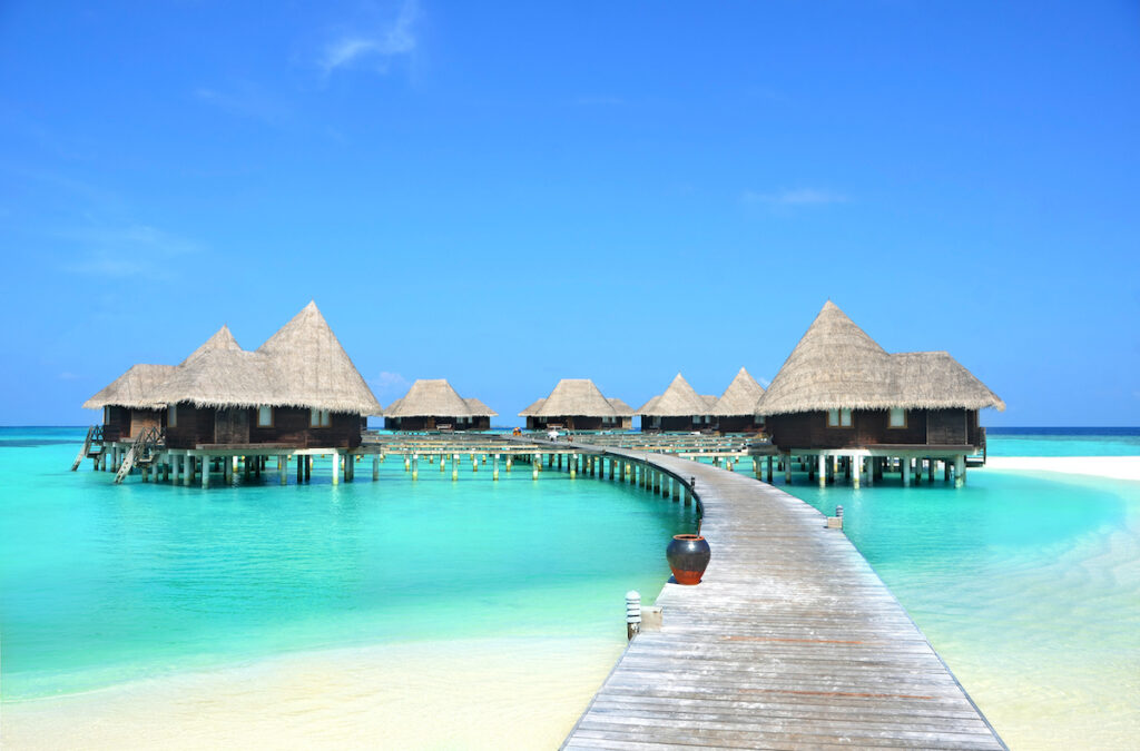 An overwater bungalow hotel in the Maldives.