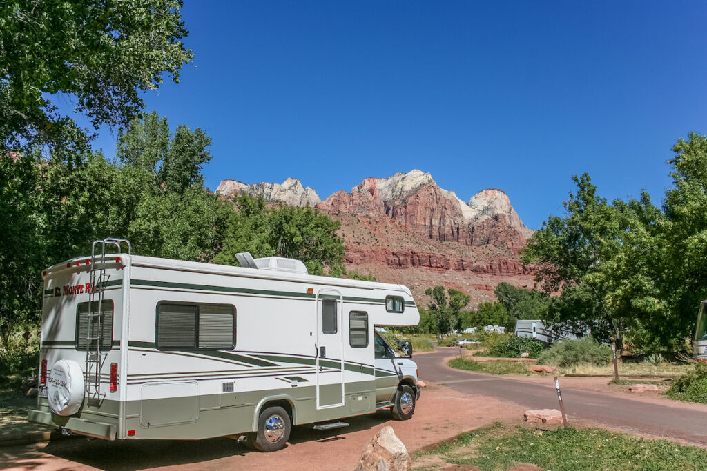 An RV at a campground in Zion National Park.