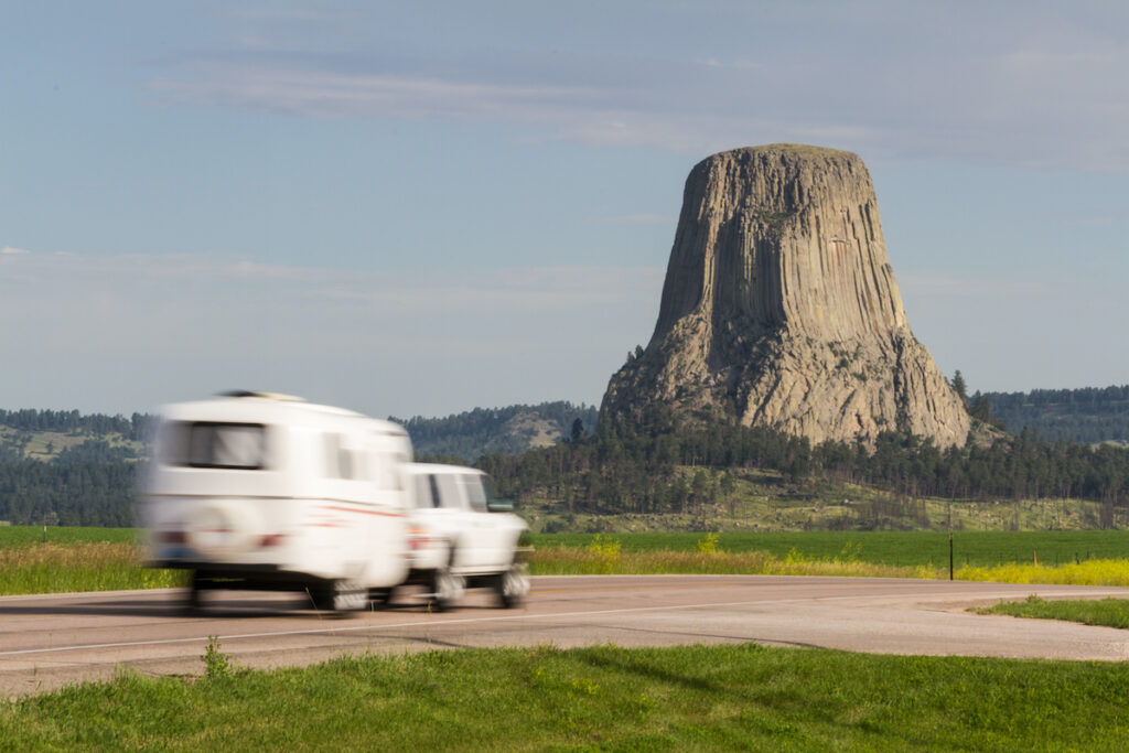 An RV at Devils Tower National Monument in Wyoming.