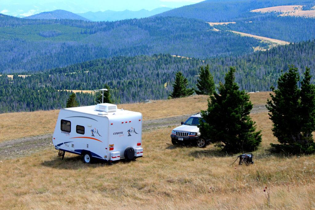 An RV camper in Montana.