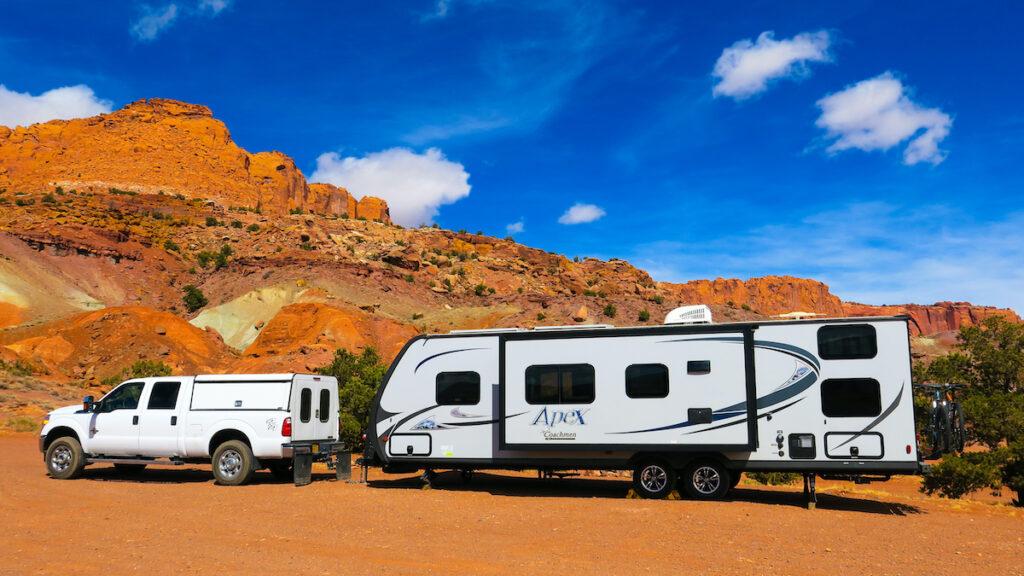 An RV camping in Capitol Reef National Park in Utah.