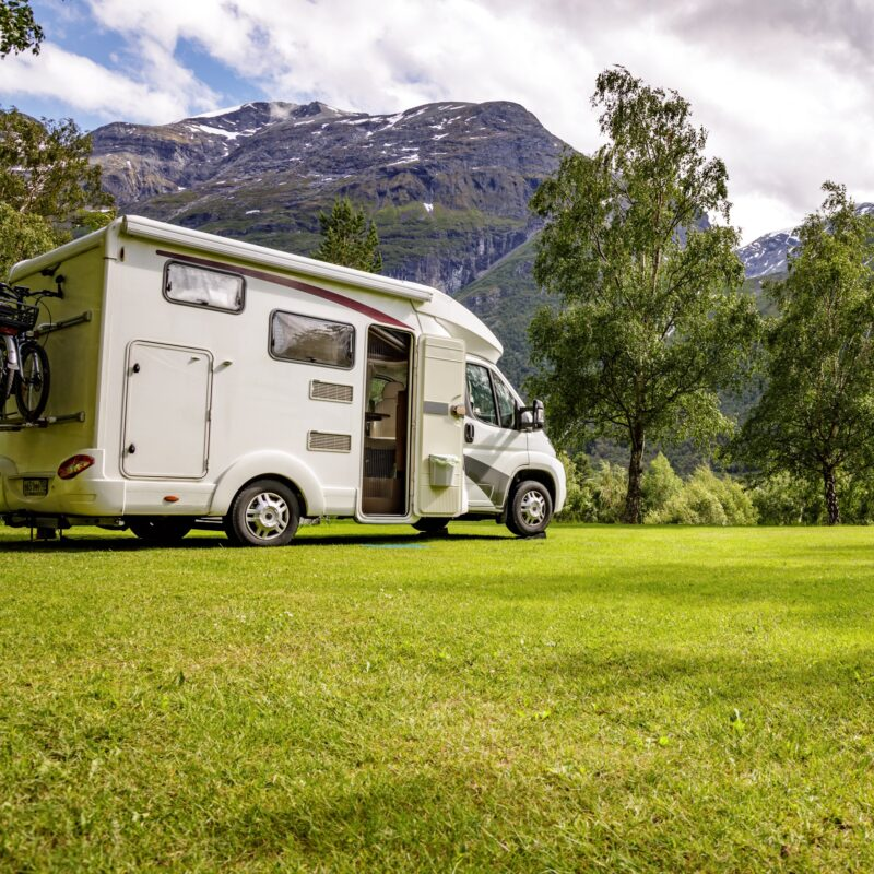 An RV camping trip in the mountains.