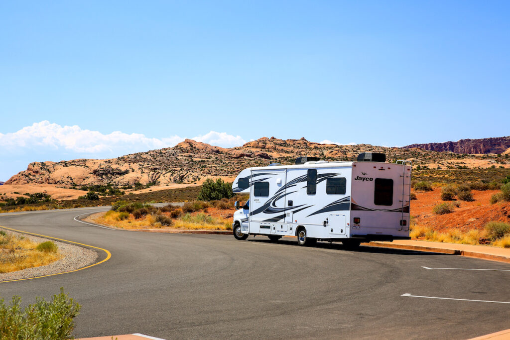 An RV in Arches National Park in Utah.