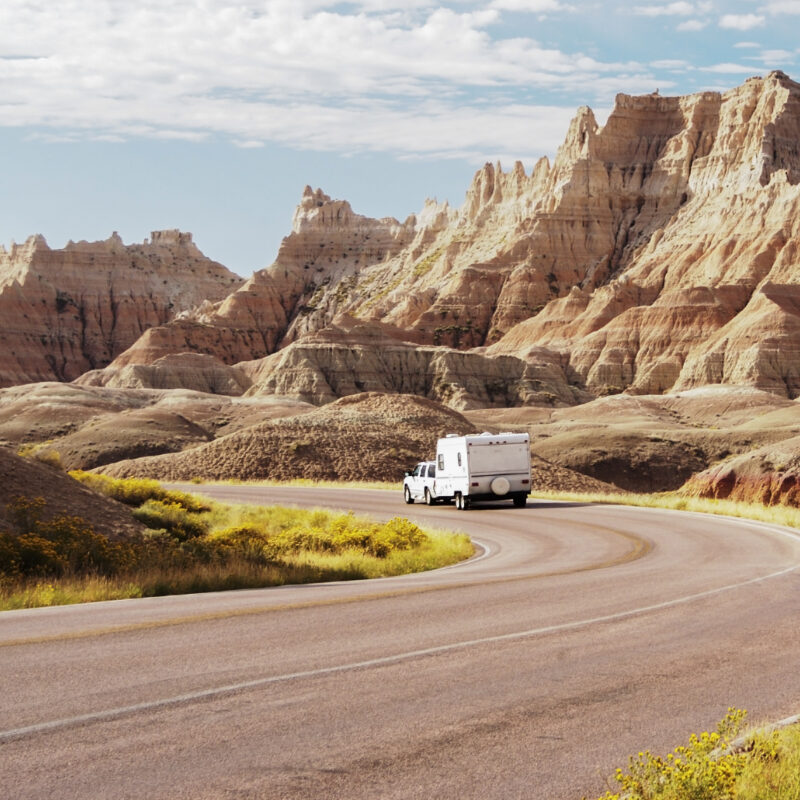 An RV in Badlands National Park.