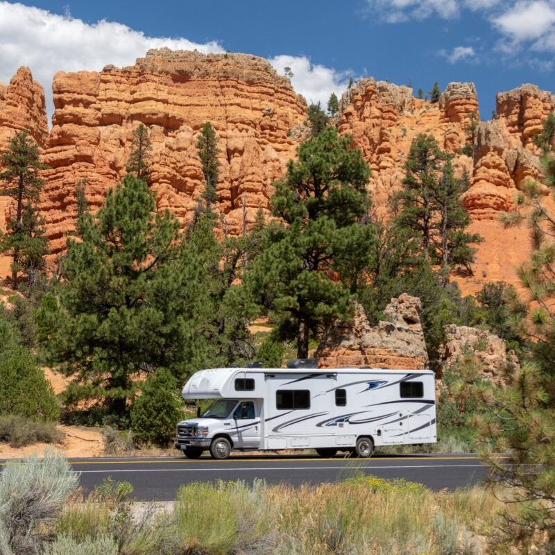 An RV on a road in Zion National Park.