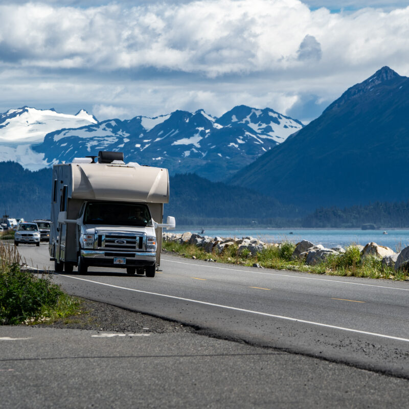 An RV on the road near Homer, Alaska.