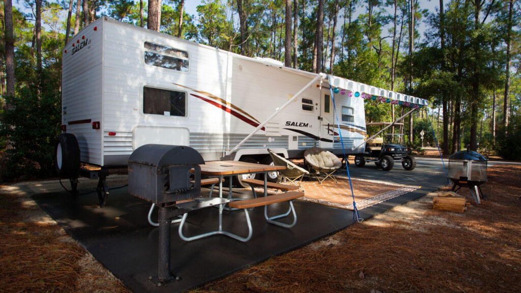 An RV parked at Disney's Fort Wilderness.