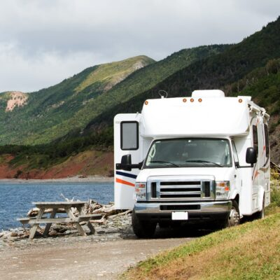 An RV parked in Cape Breton Highlands National Park.