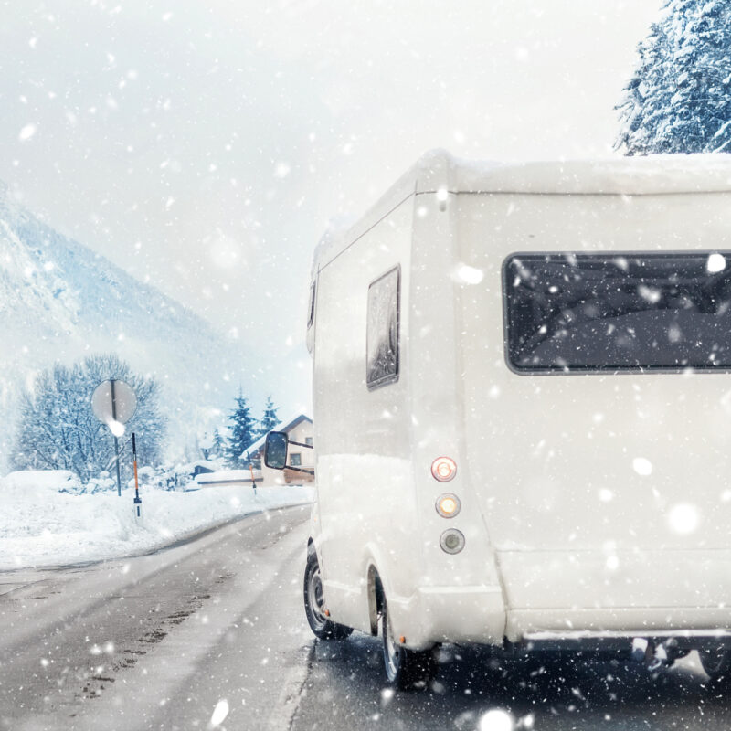 An RV trip during winter time.