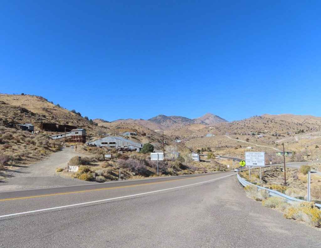 Approaching a mine in Virginia City, Nevada.
