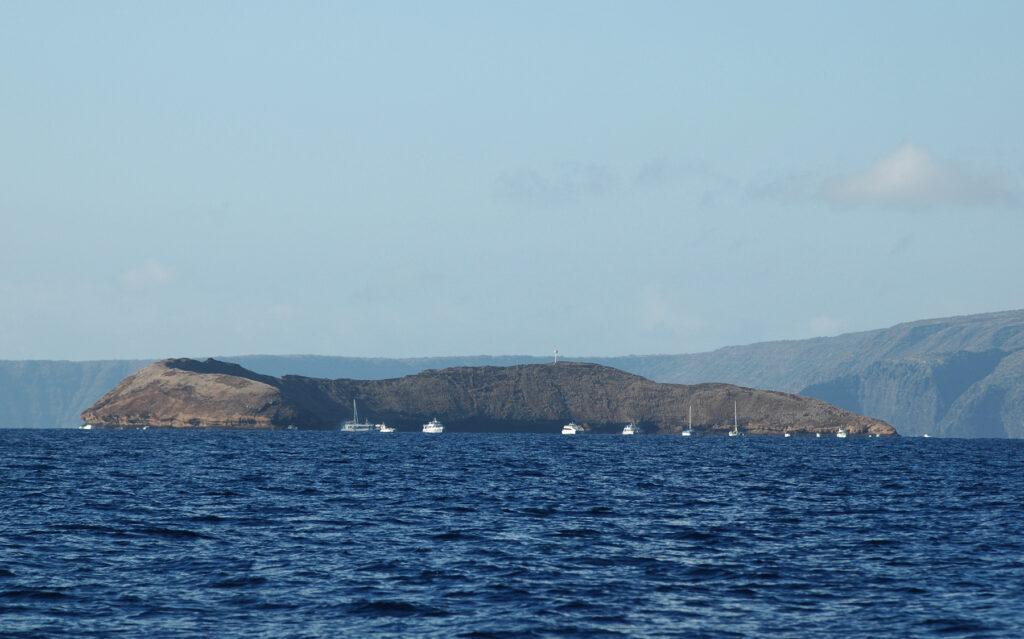 Approaching Molokini Crater in Hawaii.