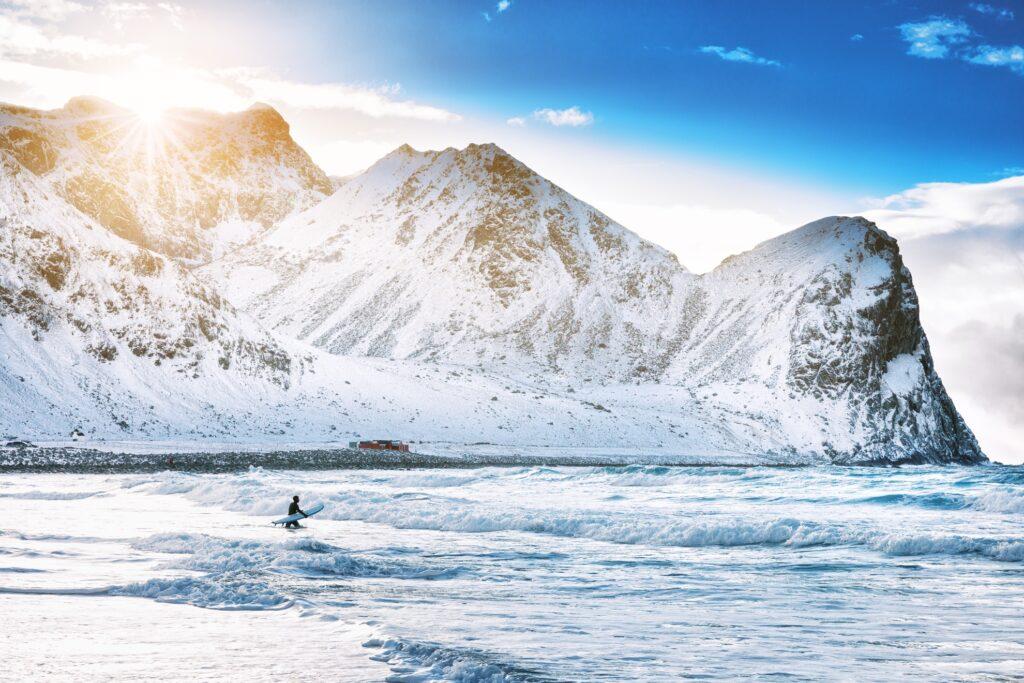 Arctic surfing off the Lofoten Islands.