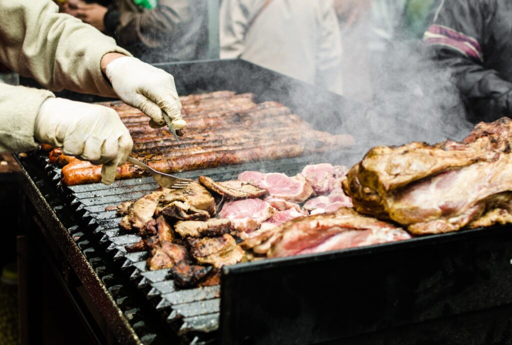 Argentinan meats at a street food market.
