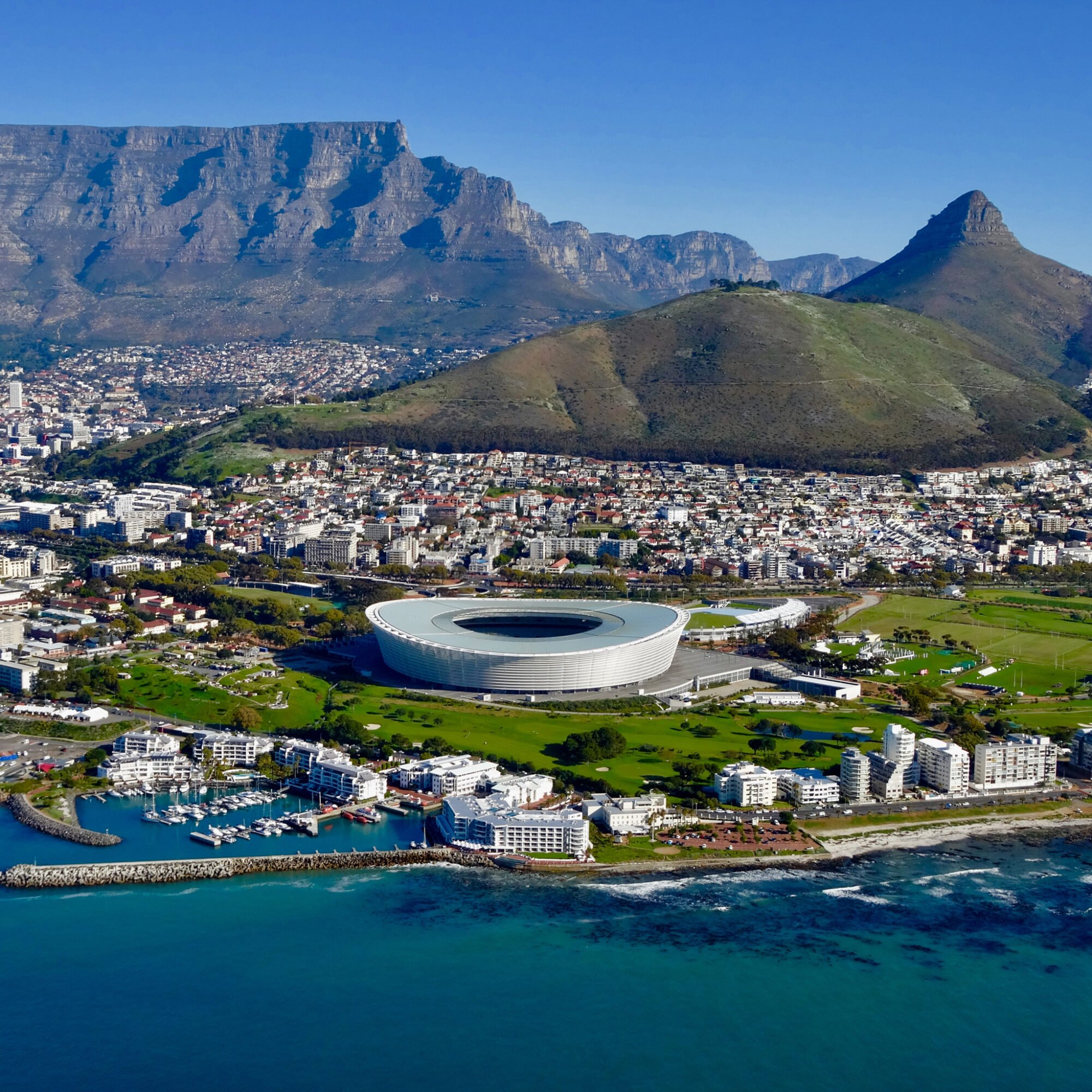 Arial view of Cape Town in South Africa.