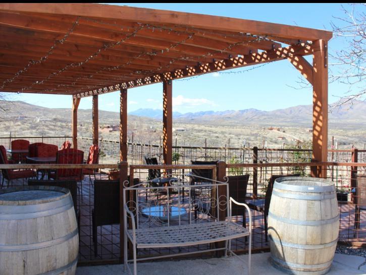 Arizona Sonoita area winery patio overlooking mountain grasslands
