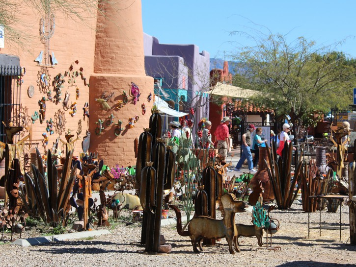 Arts and crafts for sale on the streets of Tubac, Arizona