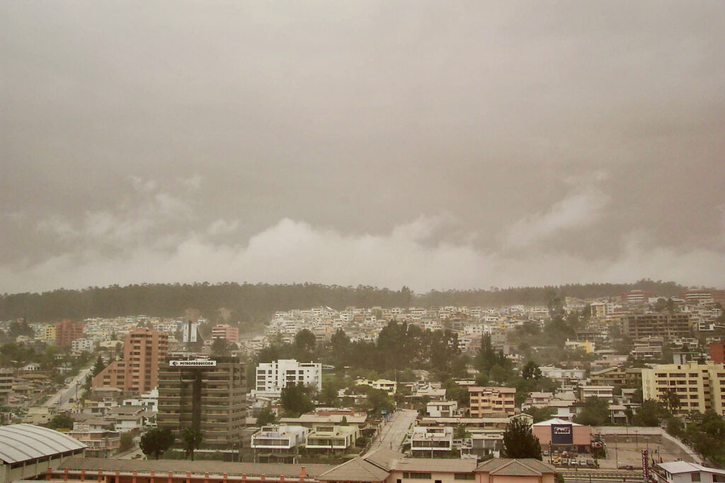Ash clouds over the city of Quito.
