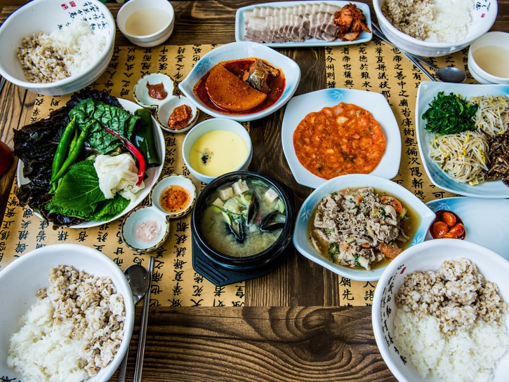 Assortment of Korean food