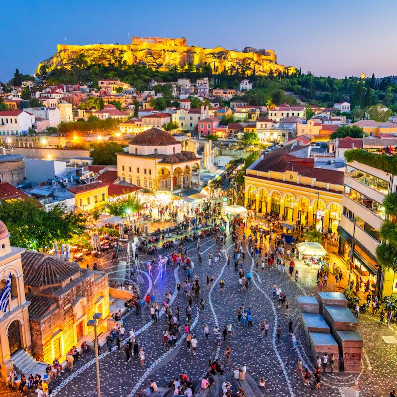 Athens, Greece, at night.