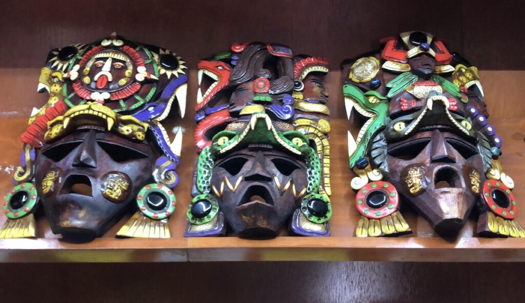 Authentic Mayan masks for sale on Isla Mujeres.