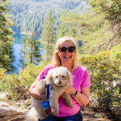 Author and her dog, Crystal Lake in Mammoth.