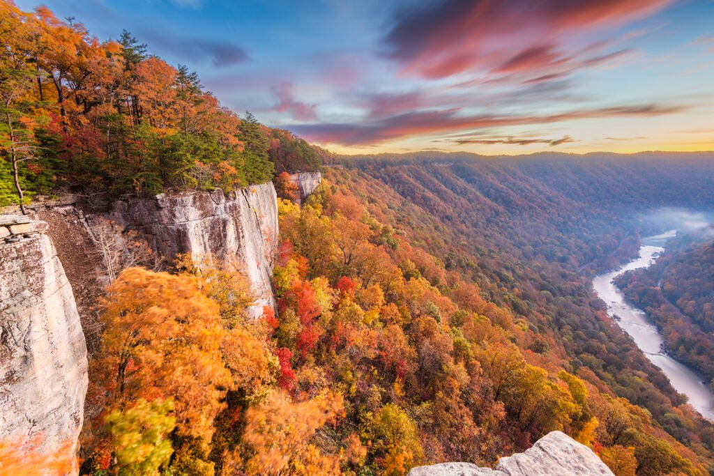 Autumn views from the Endless Wall Trail in West Virginia.