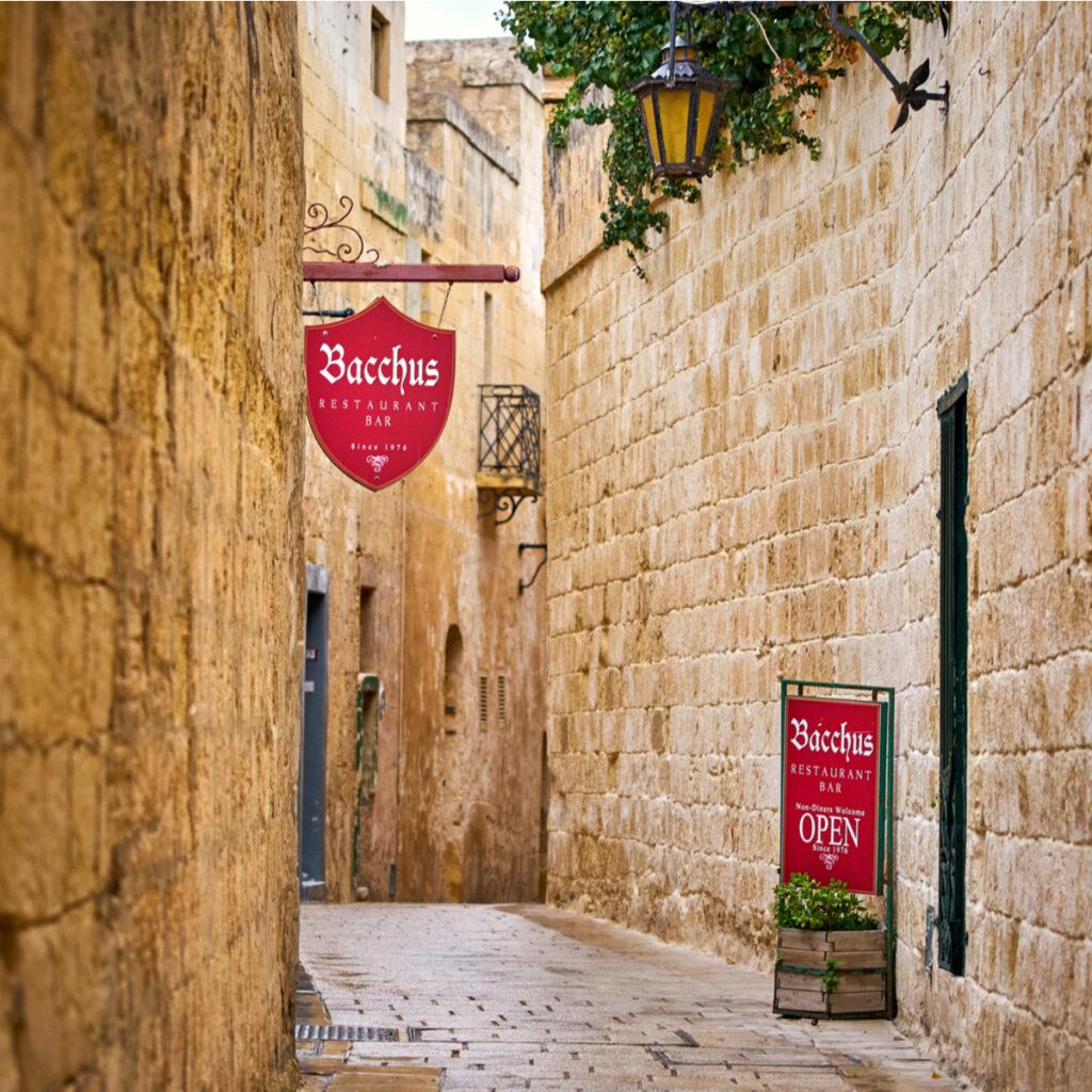 Bacchus Restaurant in Mdina, Malta.