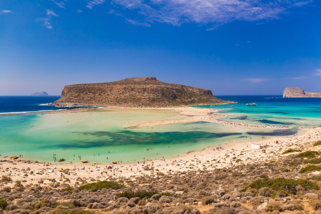 Balos Beach and lagoon in Greece.