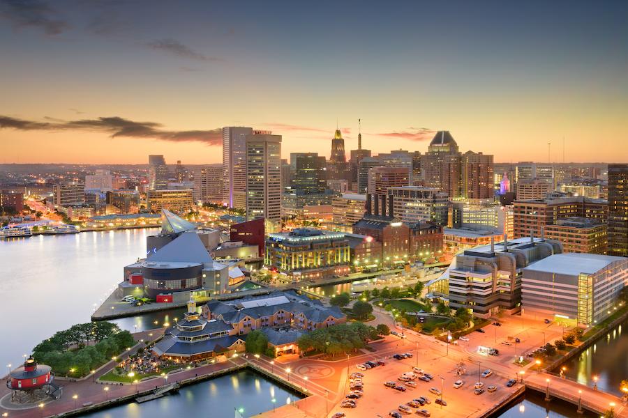 Baltimore's Inner Harbor at twilight.