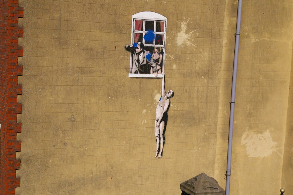 Banksy's Well Hung Lover in Bristol.