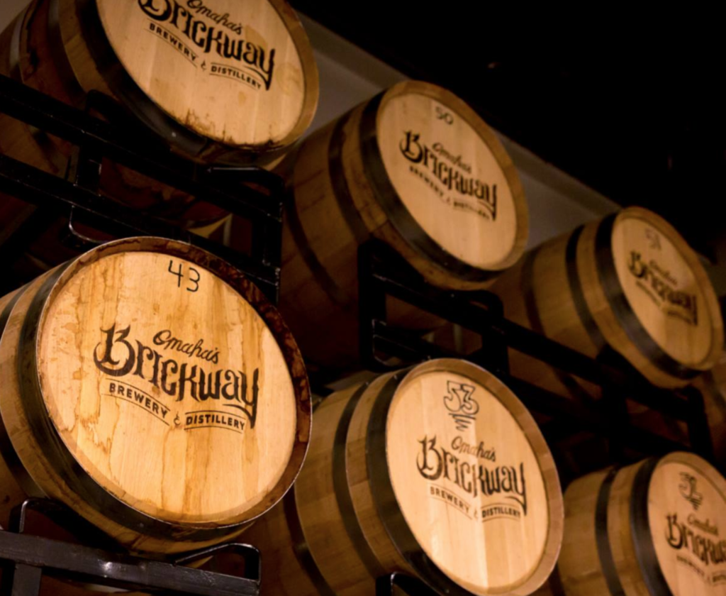Barrels from Brickway Brewery and Distillery.