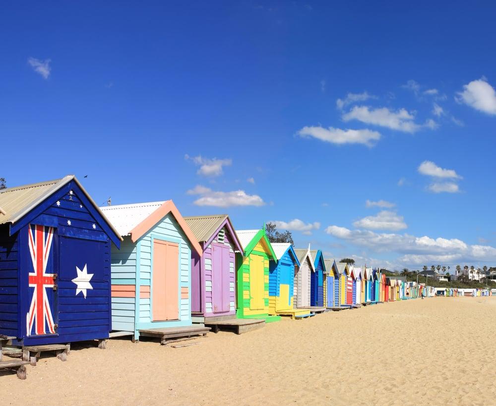 Bathing boxes on Brighton Beach.