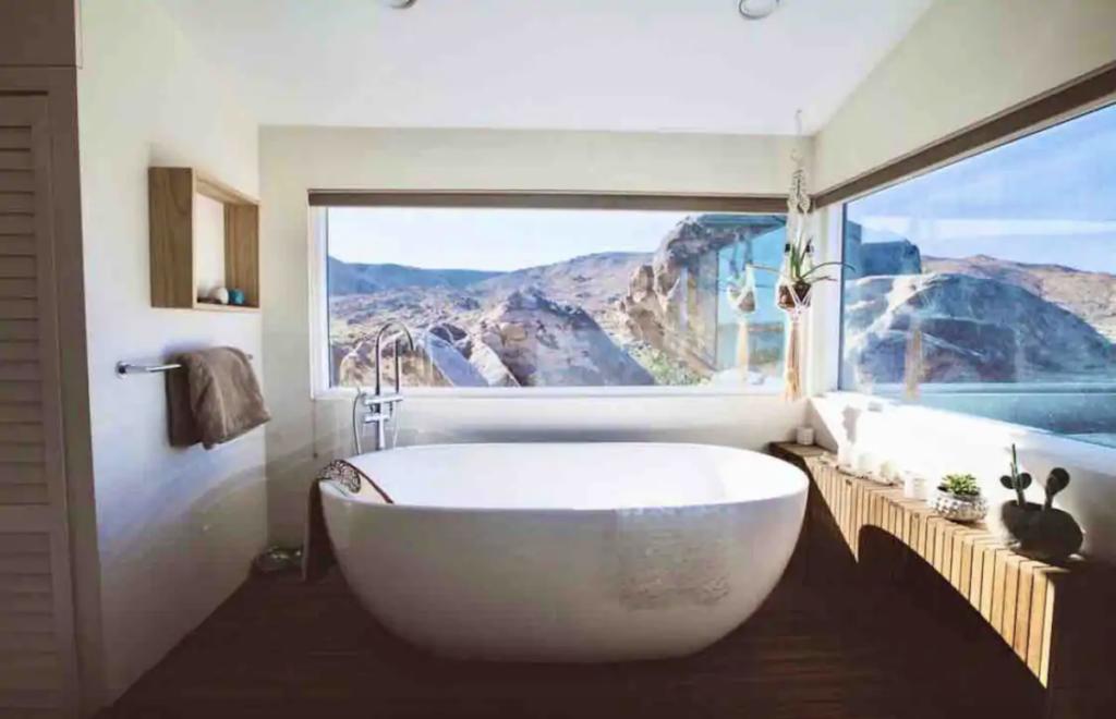 Bathroom at Flamingo Rocks Airbnb in California.