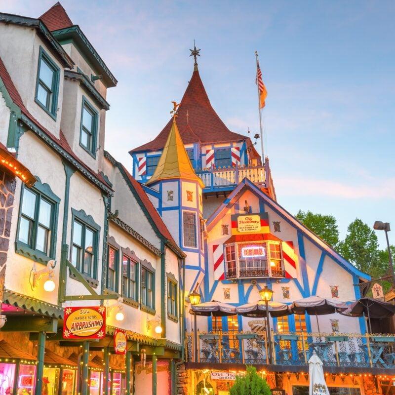Bavarian buildings in Helen, Georgia.