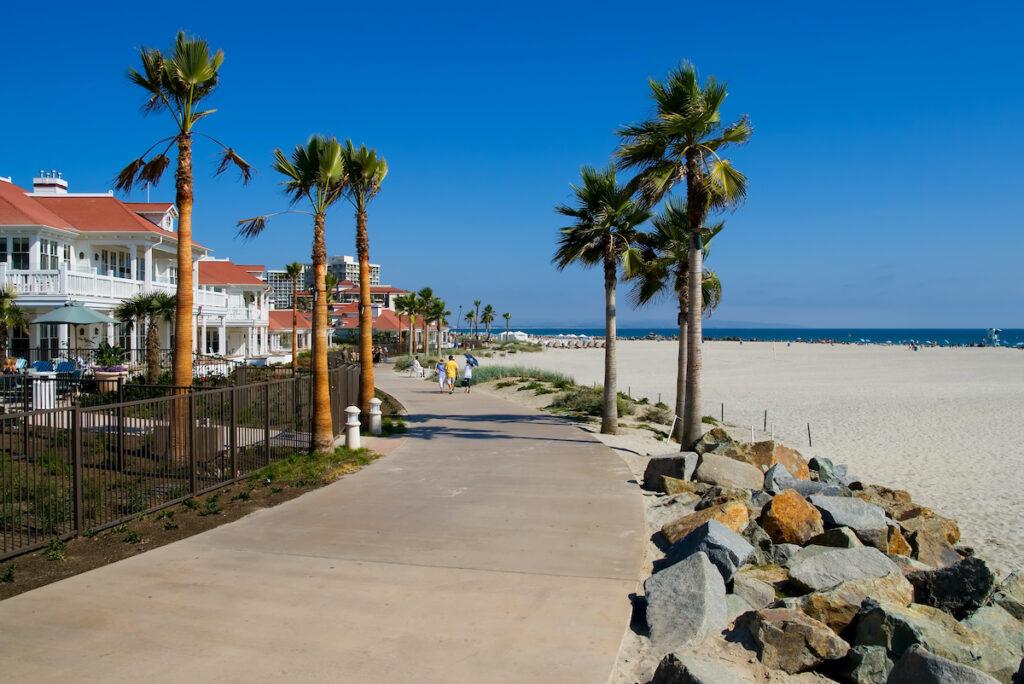Beach and residential views on Coronado Island.