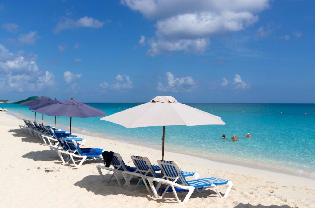 Beach chairs at Siesta Key beach in Florida.