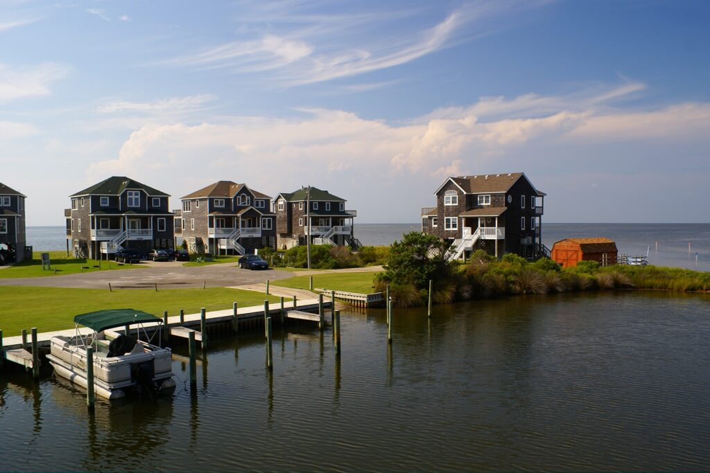 Beach houses in Avon, North Carolina.