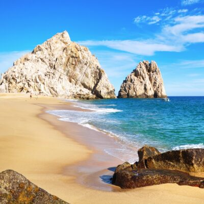 Beach views and rock formations in Cabo San Lucas.